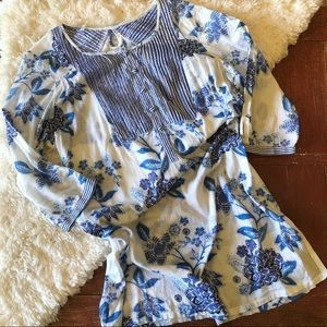 Anthropologie | Mermaid Blue & White Floral Tunic